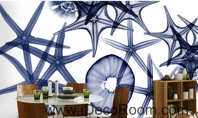 Beautiful retro to do the old seabed transparent starfish conch seashell wall art wall decor mural wallpaper wall  IDCWP-000145