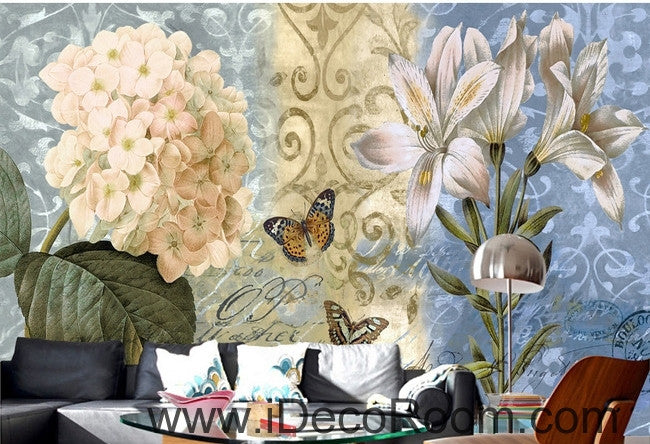 European - style beautiful fresh blue - bottomed pattern Hydrangea lily wall art wall decor mural wallpaper wall  IDCWP-000146