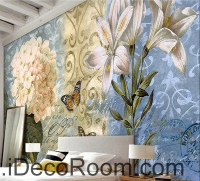 Image of European - style beautiful fresh blue - bottomed pattern Hydrangea lily wall art wall decor mural wallpaper wall  IDCWP-000146