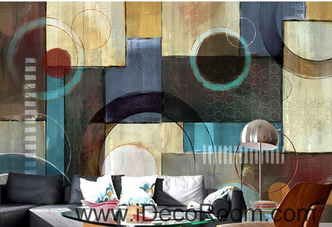 Image of European Style Retro Patterns Circle Colors Stains Split oil painting effect wall art wall decor mural wallpaper wall  IDCWP-000147