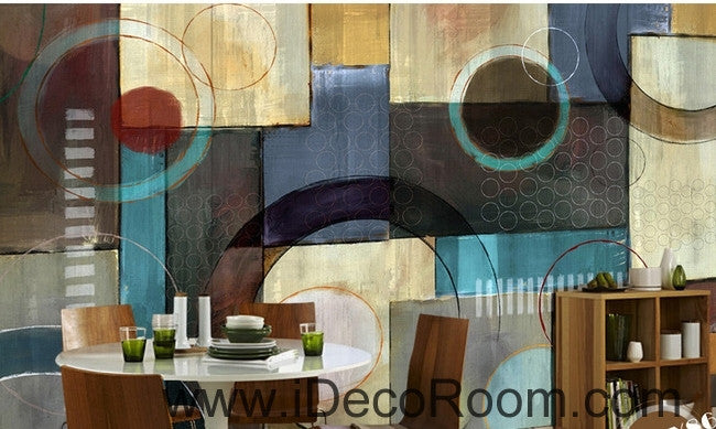 European Style Retro Patterns Circle Colors Stains Split oil painting effect wall art wall decor mural wallpaper wall  IDCWP-000147