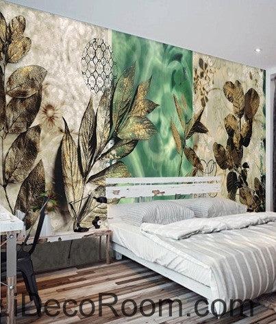 Dreams Fresh Green Patterns Flower Leaves Oil Painting Effects Wall Art Wall Decor Mural Wallpaper Wall Paper Idcwp 000149