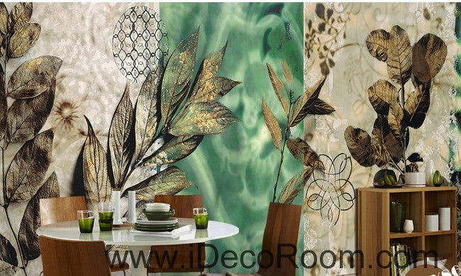 Dreams Fresh Green Patterns Flower Leaves oil painting effects wall art wall decor mural wallpaper wall paper IDCWP-000149