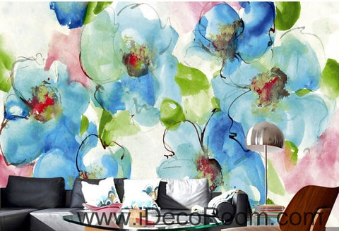 Image of Beautiful dream freshly blooming blue abstract floral poppy flower wall art wall decor mural wallpaper wall  IDCWP-000151
