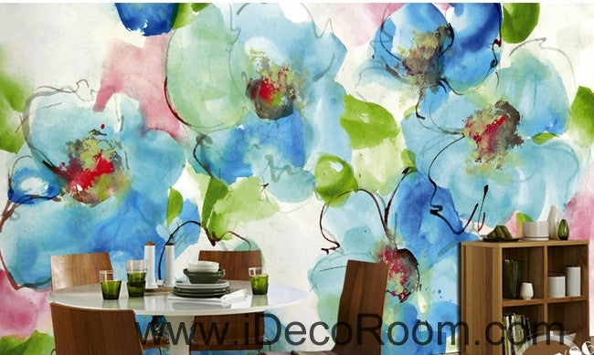 Beautiful dream freshly blooming blue abstract floral poppy flower wall art wall decor mural wallpaper wall  IDCWP-000151
