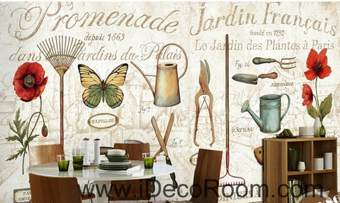 Image of Retro Patterns English Tableware Butterfly Flower oil painting effect wall art wall decor mural wallpaper wall  IDCWP-000152