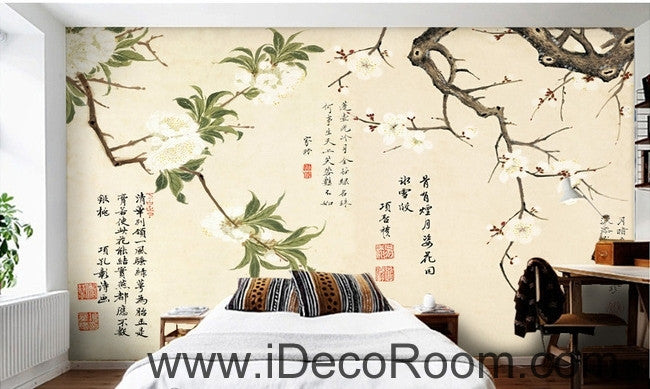 Retro branches white flowers calligraphy painting oil painting effect wall art wall decor mural wallpaper wall  IDCWP-000153