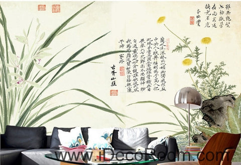 Fantasy fresh orchid leaves calligraphy daisy painting Chinese wall art wall decor mural wallpaper wall  IDCWP-000154
