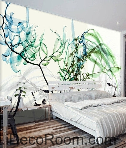 Image of Beautiful dream fresh blue green willow tree leaves branches transparent wall art wall decor mural wallpaper wall  IDCWP-000156
