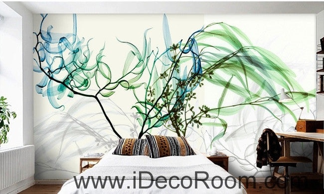 Beautiful dream fresh blue green willow tree leaves branches transparent wall art wall decor mural wallpaper wall  IDCWP-000156