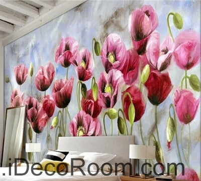 A beautiful dream romantic bloom pink poppy oil painting effect wall art wall decor mural wallpaper wall  IDCWP-000158