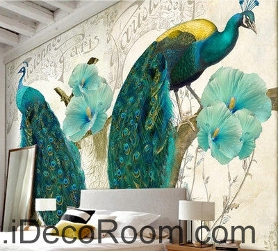 Image of Beautiful dream pattern blue peacock open screen poppy flower painting wall art wall decor mural wallpaper wall  IDCWP-000160
