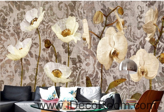 European Vintage Pattern White Blooming Orchid Puffer Flower oil painting effect wall art wall decor mural wallpaper wall  IDCWP-000162