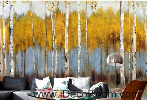 Image of Retro to do the old abstract forest forest birch forest oil painting effect wall art wall decor mural wallpaper wall  IDCWP-000164