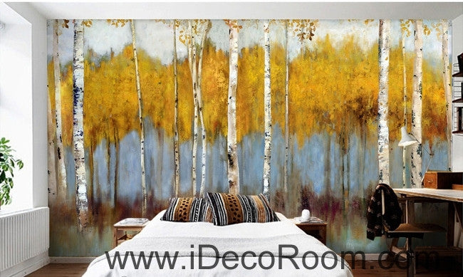 Retro to do the old abstract forest forest birch forest oil painting effect wall art wall decor mural wallpaper wall  IDCWP-000164