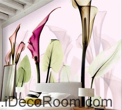 Image of A beautiful dream romantic warm multicolored blooming calla lily transparent wall art wall decor mural wallpaper wall  IDCWP-000166