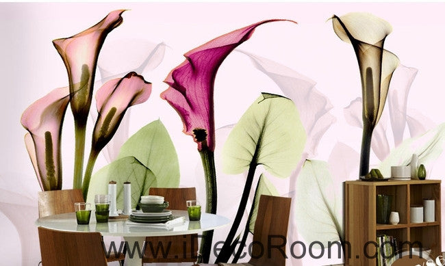 A beautiful dream romantic warm multicolored blooming calla lily transparent wall art wall decor mural wallpaper wall  IDCWP-000166