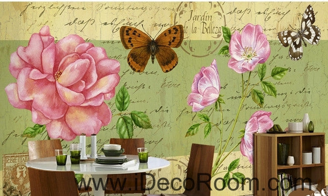 Beautiful dream fresh pink peony rose butterfly flying oil painting effect wall art wall decor mural wallpaper wall  IDCWP-000170