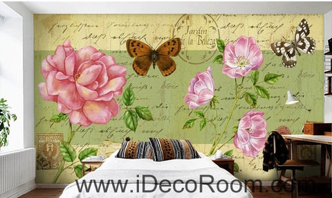 Image of Beautiful dream fresh pink peony rose butterfly flying oil painting effect wall art wall decor mural wallpaper wall  IDCWP-000170