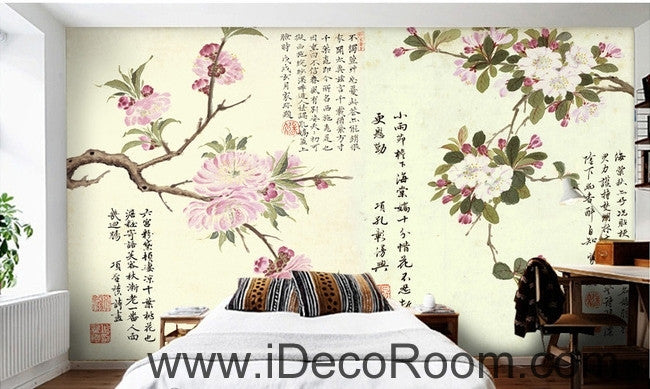 Retro pink blooming peach cherry tree branches calligraphy painting wall art wall decor mural wallpaper wall  IDCWP-000171
