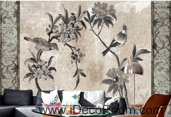 European style retro floral flower bird painting wall art wall decor mural wallpaper wall  IDCWP-000172
