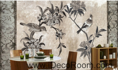 Image of European style retro floral flower bird painting wall art wall decor mural wallpaper wall  IDCWP-000172