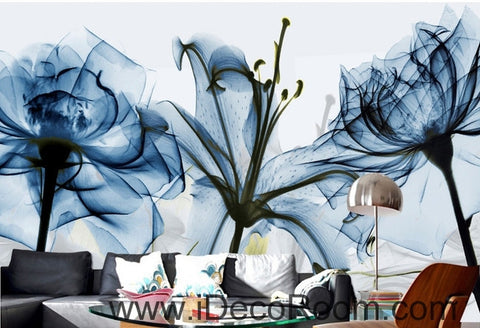 Beautiful dream fresh and romantic blue bloom lily rose transparent flowers wall art wall decor mural wallpaper wall  IDCWP-000173