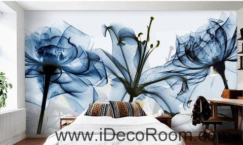Image of Beautiful dream fresh and romantic blue bloom lily rose transparent flowers wall art wall decor mural wallpaper wall  IDCWP-000173