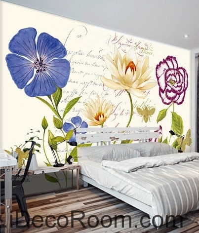 Beautiful dream fresh pattern glass carnations flower oil painting effect wall art wall decor mural wallpaper wall  IDCWP-000174