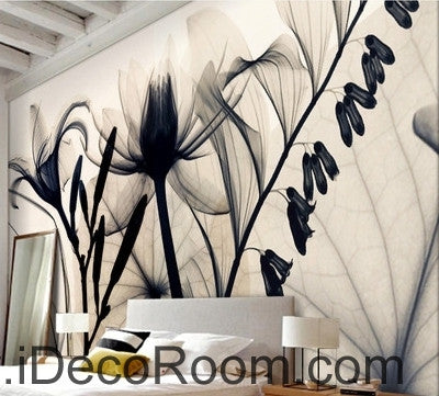 Image of Beautiful fantasy classic black and white transparent flowers lily art wall art wall decor mural wallpaper wall  IDCWP-000176
