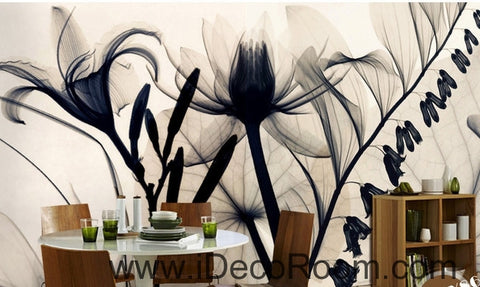 Beautiful fantasy classic black and white transparent flowers lily art wall art wall decor mural wallpaper wall  IDCWP-000176