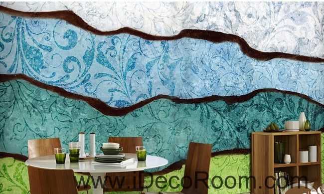Fresh and beautiful blue pattern black lines abstract waves wall art wall decor mural wallpaper wall  IDCWP-000181