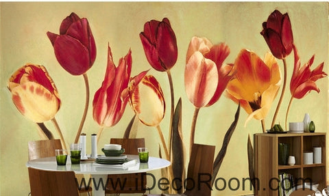 Image of European-style retro blooming Hongyan yellow tulip flower painting wall art wall decor mural wallpaper wall  IDCWP-000182