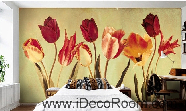 European-style retro blooming Hongyan yellow tulip flower painting wall art wall decor mural wallpaper wall  IDCWP-000182