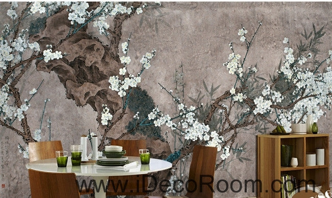 European style retro gray background white floral branch old tree branch oil painting effect wall art wall decor mural wallpaper wall  IDCWP-000183
