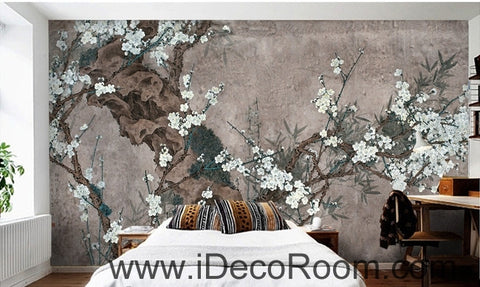 Image of European style retro gray background white floral branch old tree branch oil painting effect wall art wall decor mural wallpaper wall  IDCWP-000183