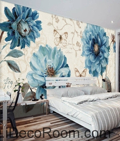 Beautiful dream fresh pattern blue peony butterfly wall art wall decor mural wallpaper wall  IDCWP-000184