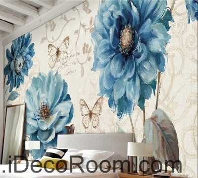 Image of Beautiful dream fresh pattern blue peony butterfly wall art wall decor mural wallpaper wall  IDCWP-000184