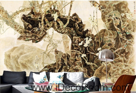 Image of European retro retro art old tree root tree branch oil painting effect wall art wall decor mural wallpaper wall  IDCWP-000187