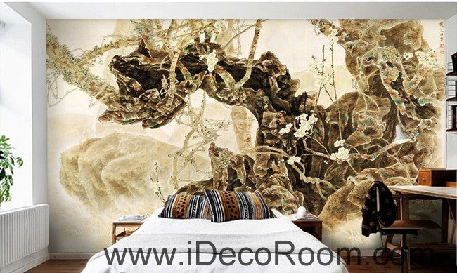 European retro retro art old tree root tree branch oil painting effect wall art wall decor mural wallpaper wall  IDCWP-000187