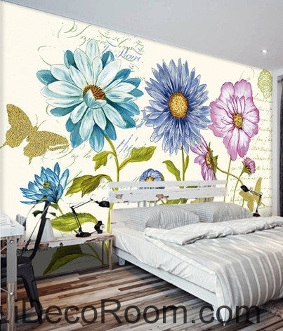 Beautiful dream white daisy gesang flower butterfly oil for Butterfly mural wallpaper