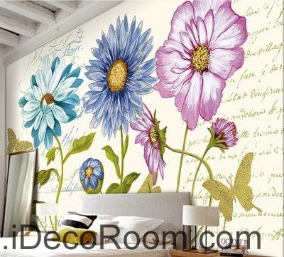 Image of Beautiful dream white daisy gesang flower butterfly oil painting effect wall art wall decor mural wallpaper wall  IDCWP-000188