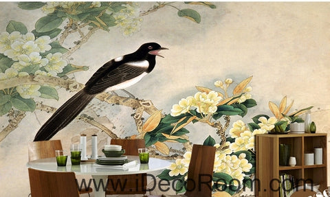 Image of Retro bird on a branch of a bird magpie painting wall art wall decor mural wallpaper wall  IDCWP-000189