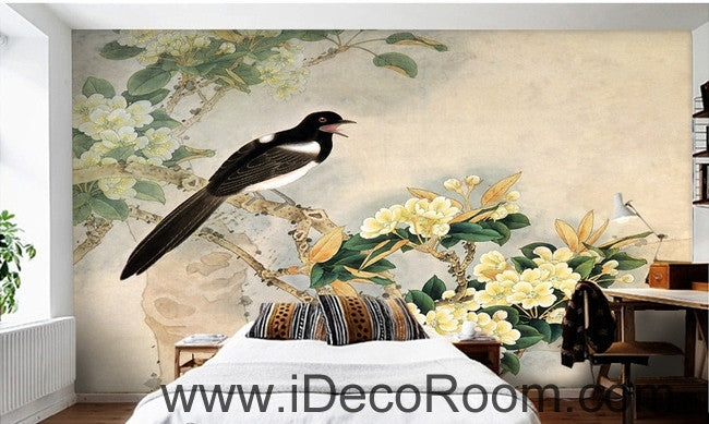 Retro bird on a branch of a bird magpie painting wall art wall decor mural wallpaper wall  IDCWP-000189
