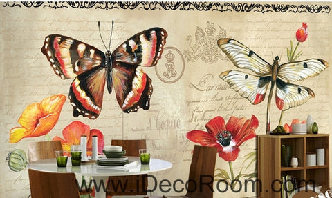 Image of European Style Retro Floral English Floral Butterfly oil painting effect wall art wall decor mural wallpaper wall  IDCWP-000190