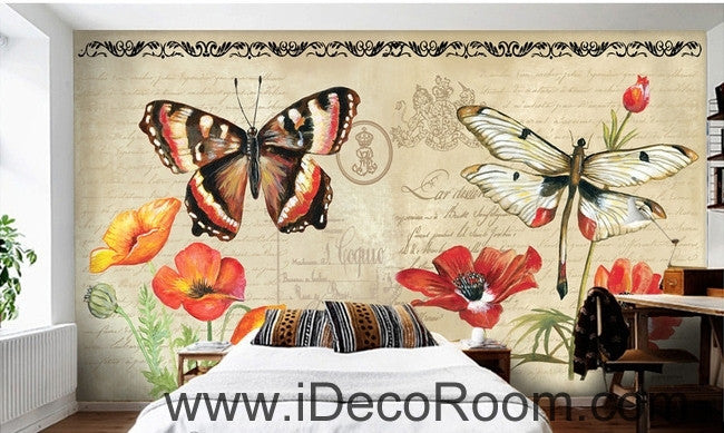 European Style Retro Floral English Floral Butterfly oil painting effect wall art wall decor mural wallpaper wall  IDCWP-000190