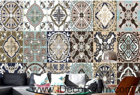 Image of Retro ethnic pattern box splice painting wall art wall decor mural wallpaper wall  IDCWP-000191