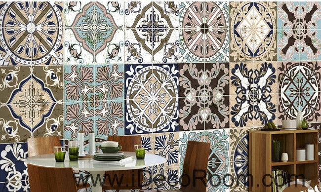 Retro ethnic pattern box splice painting wall art wall decor mural wallpaper wall  IDCWP-000191