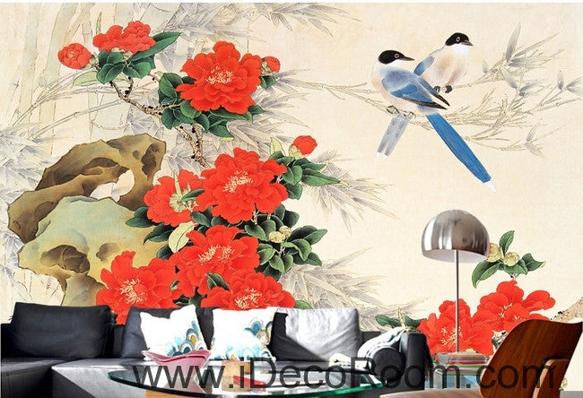 Stone bloom red peony two magpie flowers and birds painting wall art wall decor mural wallpaper wall  IDCWP-000192