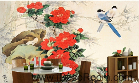 Image of Stone bloom red peony two magpie flowers and birds painting wall art wall decor mural wallpaper wall  IDCWP-000192